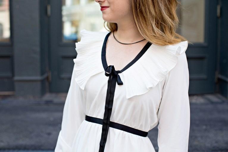 White Ruffle Dress // www.polishedclosets.com