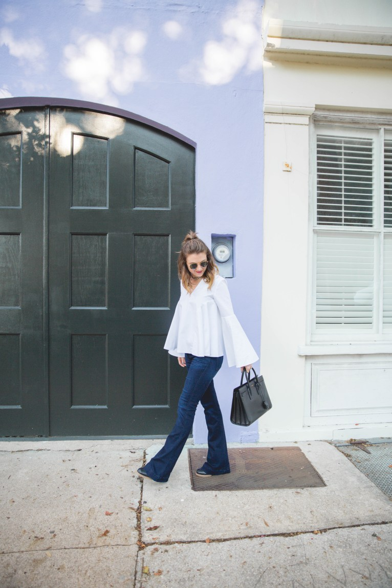 White Bell Sleeve Top // www.polishedclosets.com