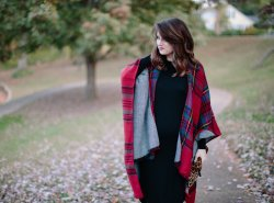 Reversible Plaid Cape