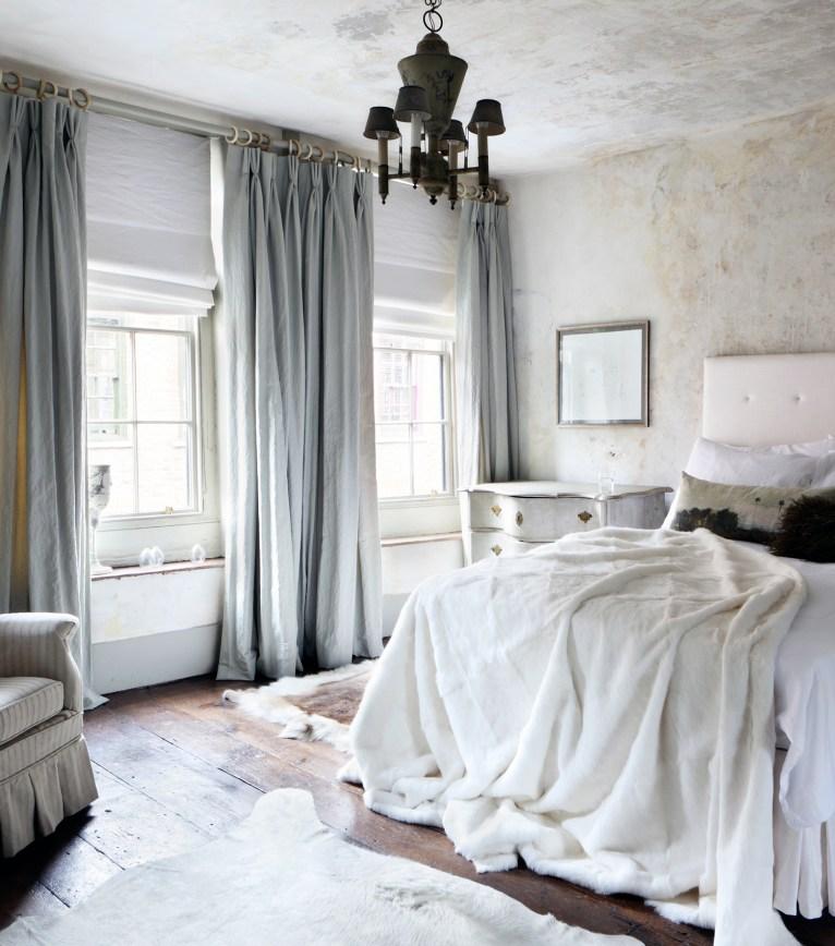 light blue velvet curtains
