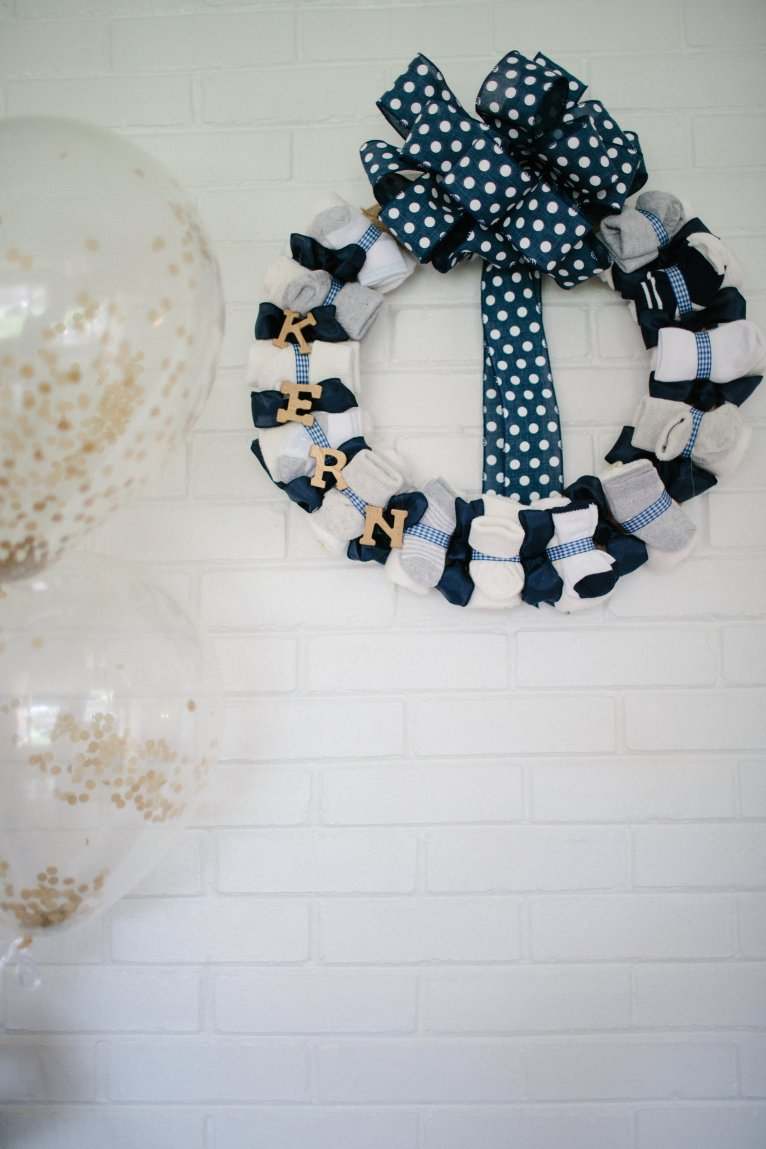 baby shower sock wreath
