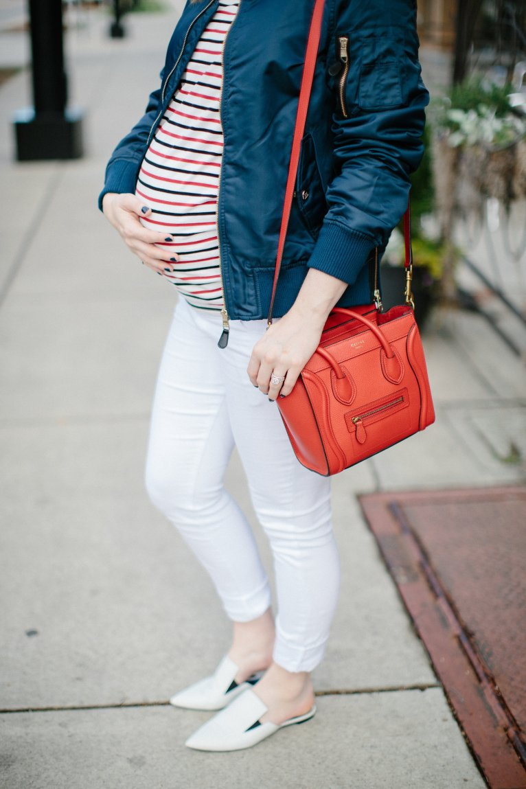 Navy Bomber Jacket by fashion blogger Maggie from Polished Closets