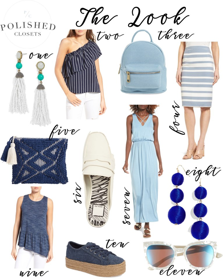 The Look: Blue and White Spring Outfit Under $100 by fashion blogger Maggie from Polished Closets