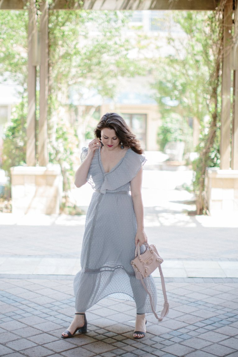 Gray Maxi Dress by fashion blogger Maggie of Polished Closets