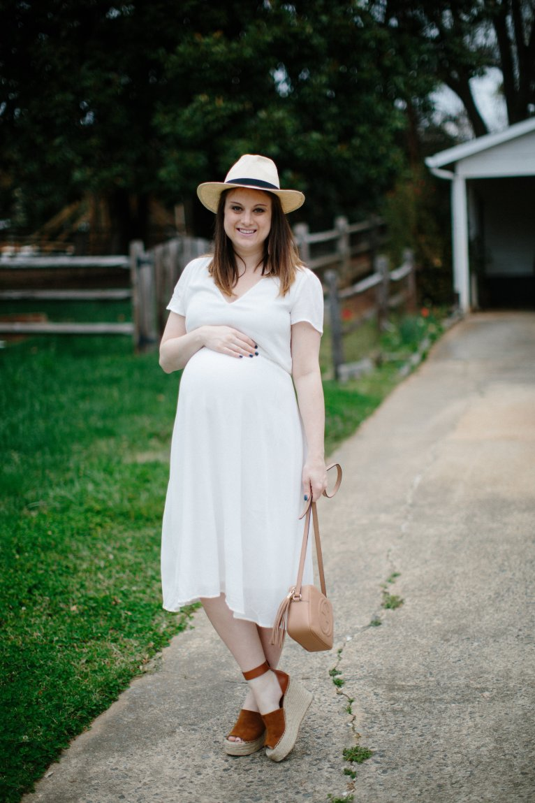 My Favorite Wayf Dress: The White Midi Dress by fashion blogger Maggie of Polished Closets