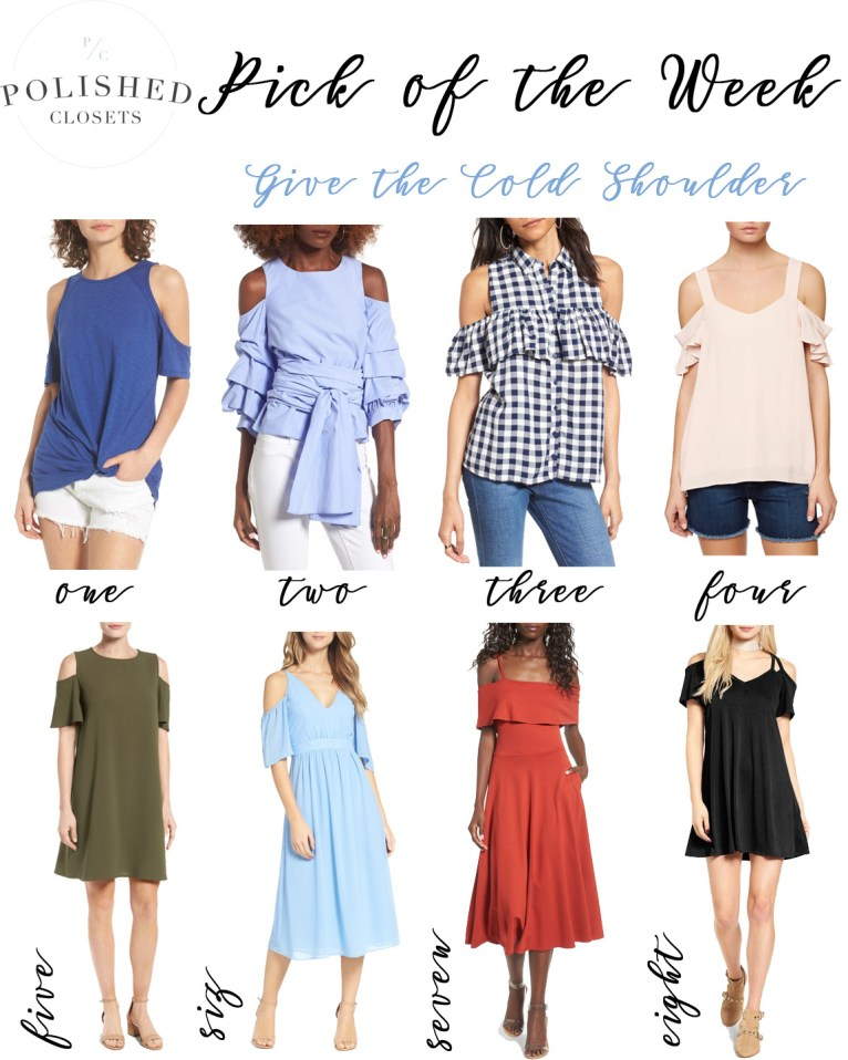 Pick of the Week: Cold Shoulder Tops & Dresses by fashion blogger Maggie of Polished Closets