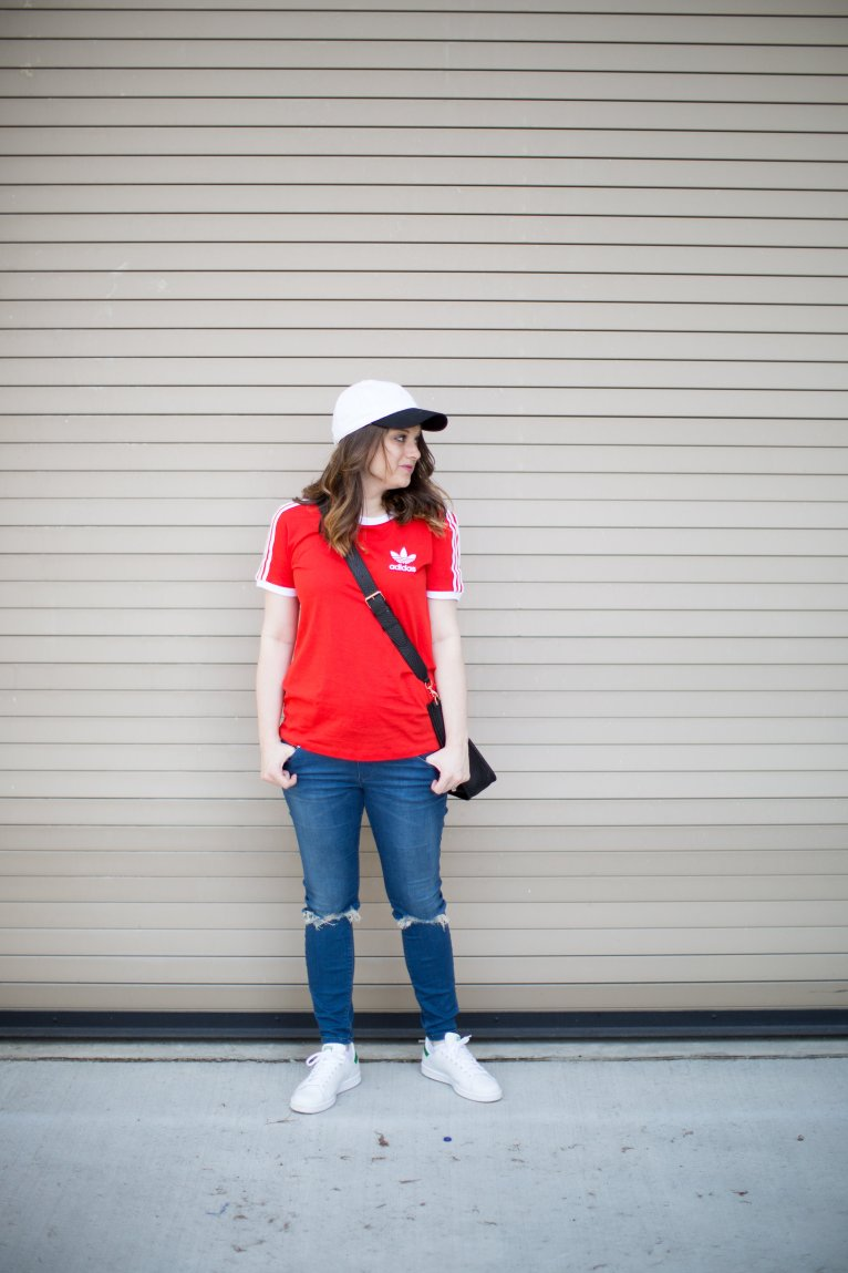 5a8e545dc637 Athleisure with Adidas  The Classic Red Adidas Shirt by fashion blogger  Maggie of Polished Closets
