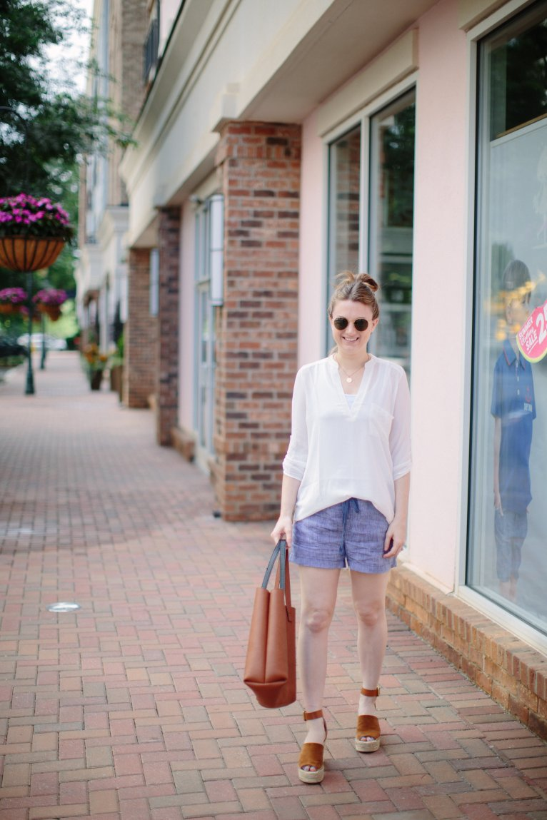 Chic mom style with chambray shorts by Fashion Blogger Maggie Kern of Polished Closets