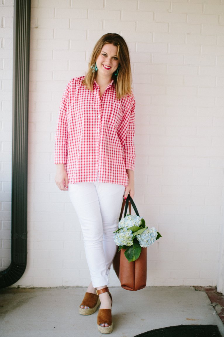Red Gingham Top by fashion blogger Maggie of Polished Closets