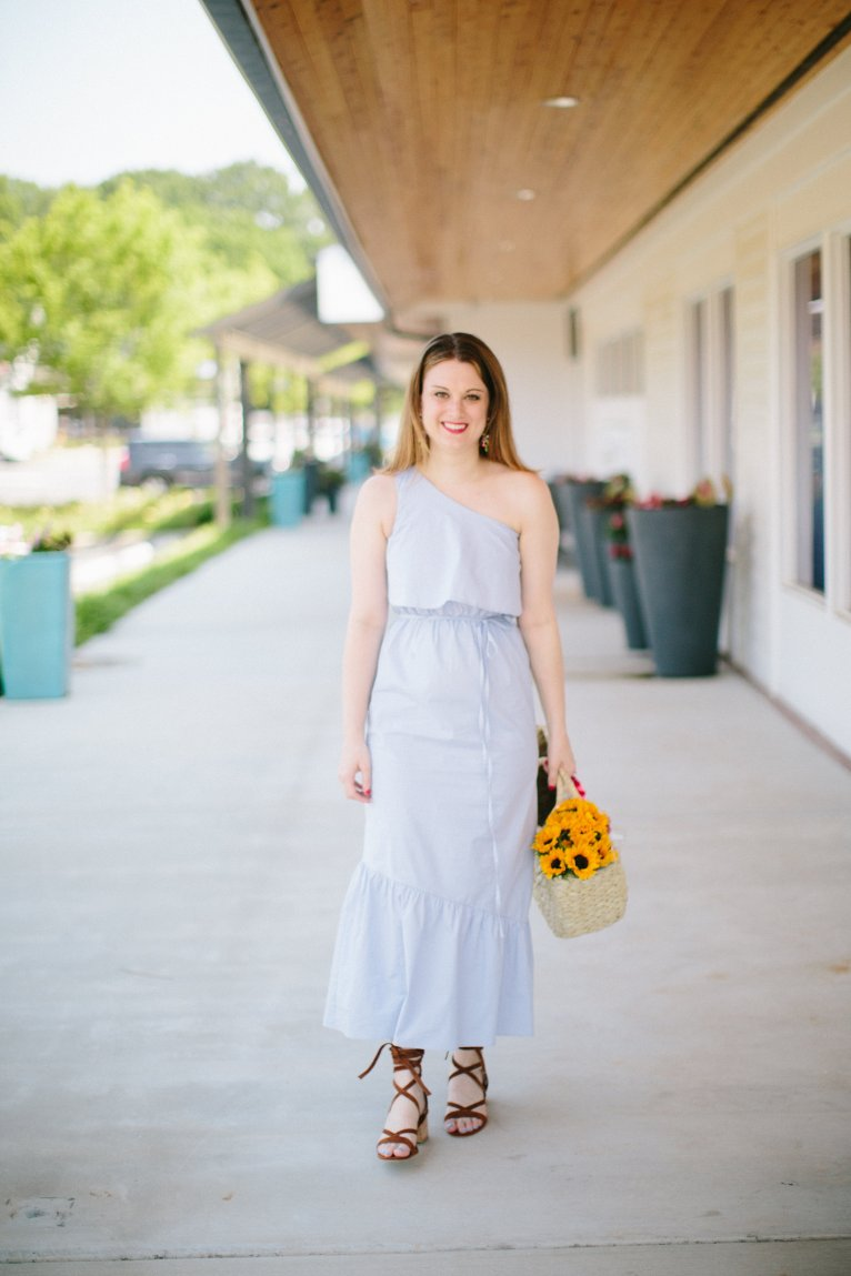 Summer Dress for the Chic Mom: The One Shoulder Midi Dress by Fashion Blogger Maggie of Polished Closets
