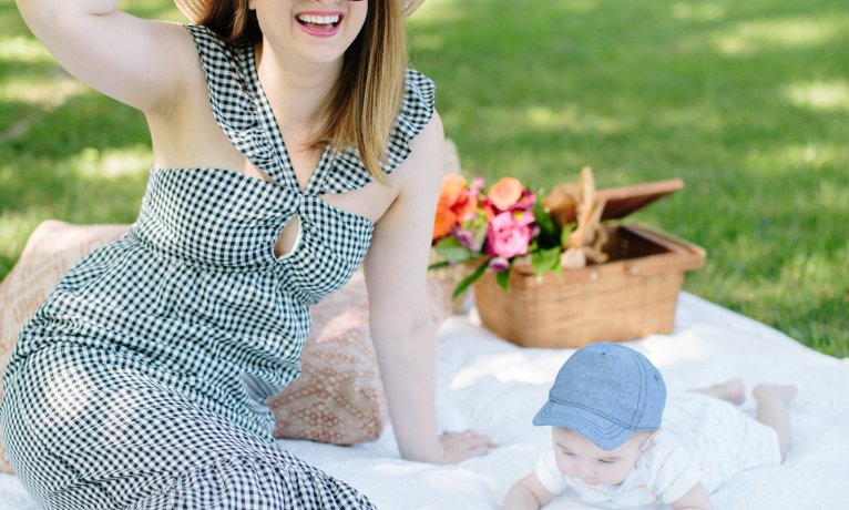 A Pretty Gingham Ruffle Dress for a Picnic with Lincoln