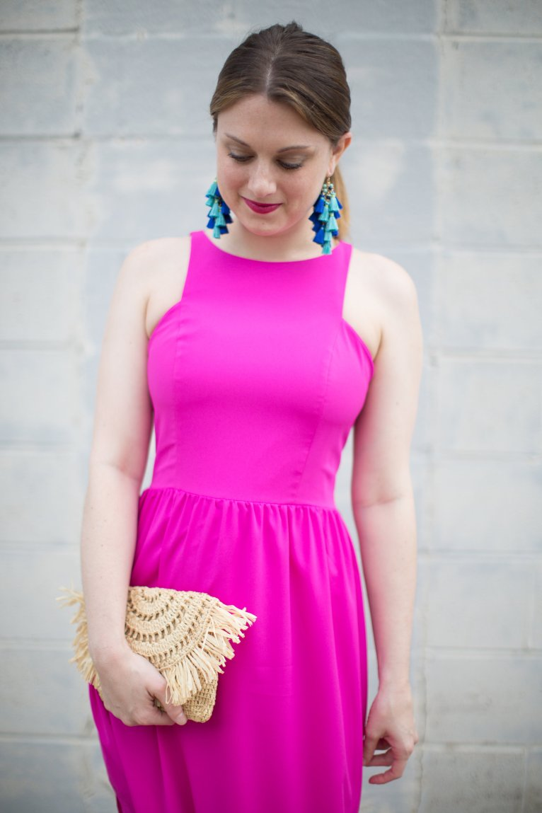A Bright Pink Maxi Dress Styled by Fashion Blogger Maggie Kern of Polished Closets