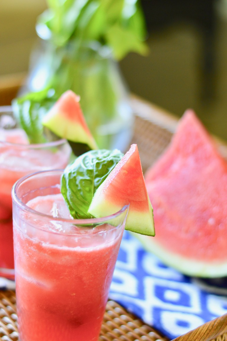 Watermelon Basil Margarita by Lifestyle Blogger Maggie of Polished Closets