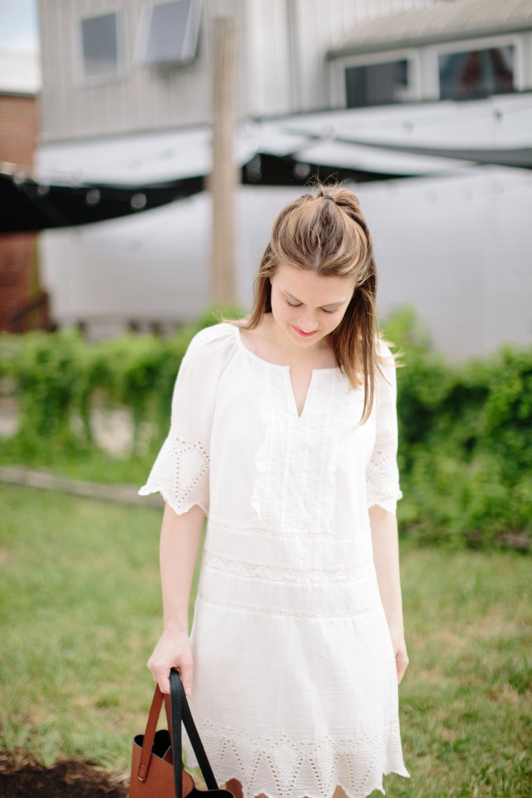 A Casual Embroidered Shift Dress Styled by Fashion Blogger Maggie Kern of Polished Closets