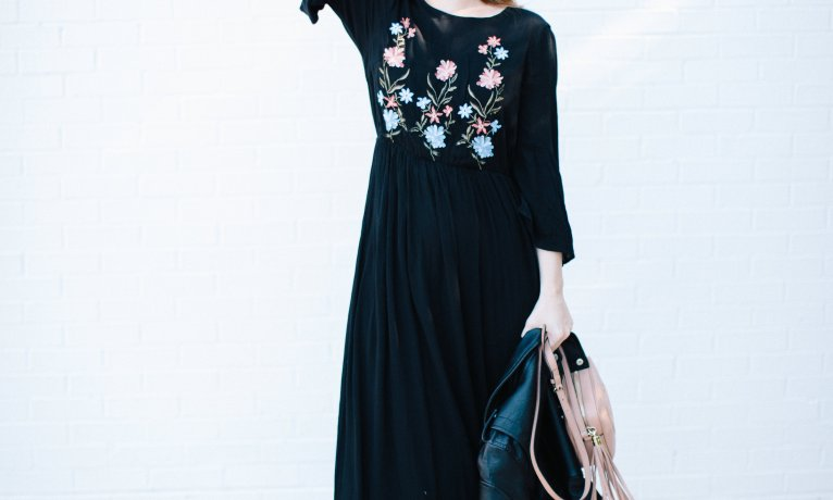 Embroidered Maxi Dress for Summer and Fall