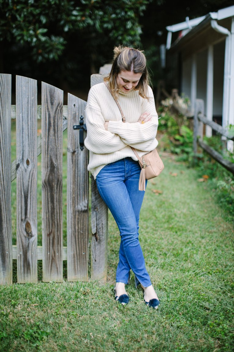 How to Dress up a Chunky Sweater by Fashion Blogger Maggie Kern of Polished Closets.