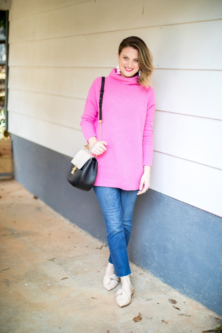 The perfect bright pink sweater for fall styled by fashion blogger Maggie Kern of Polished Closets.