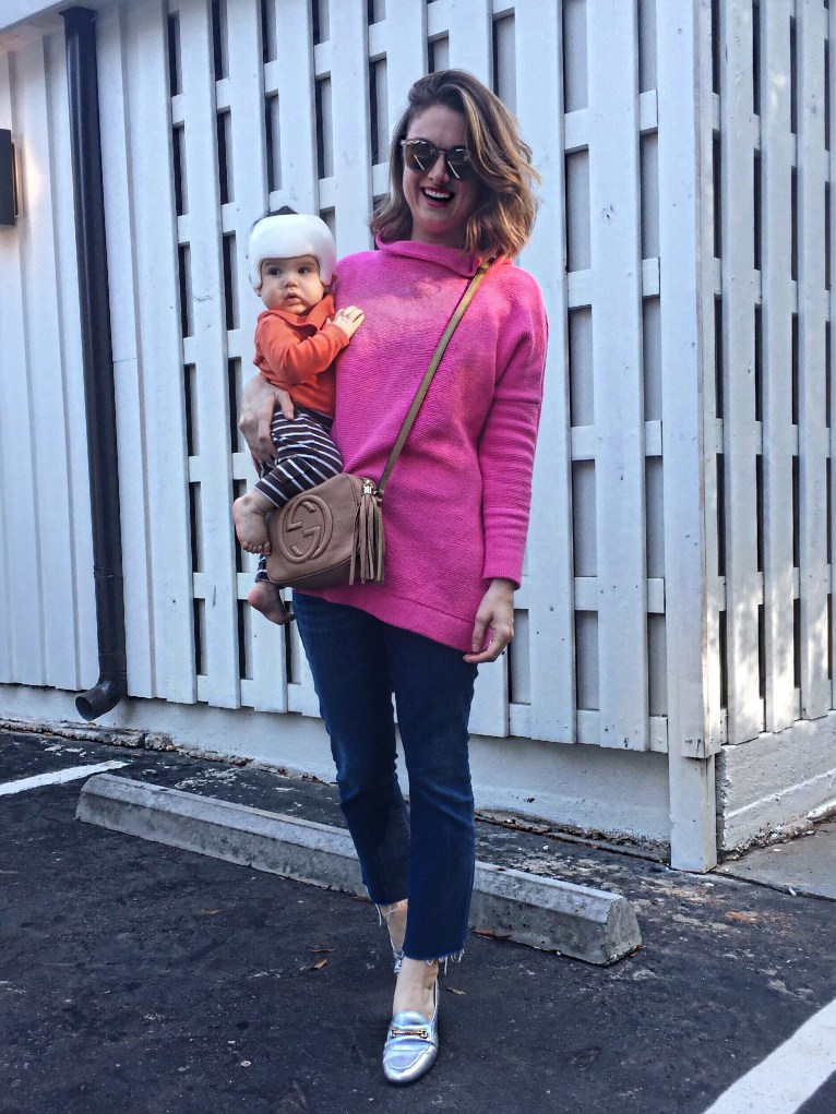 The perfect pink sweater for any mom