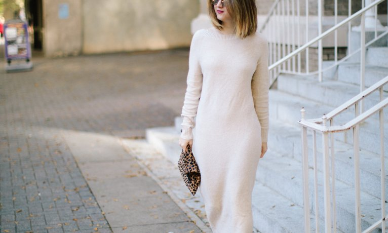 How to Style a Neutral Sweater Dress
