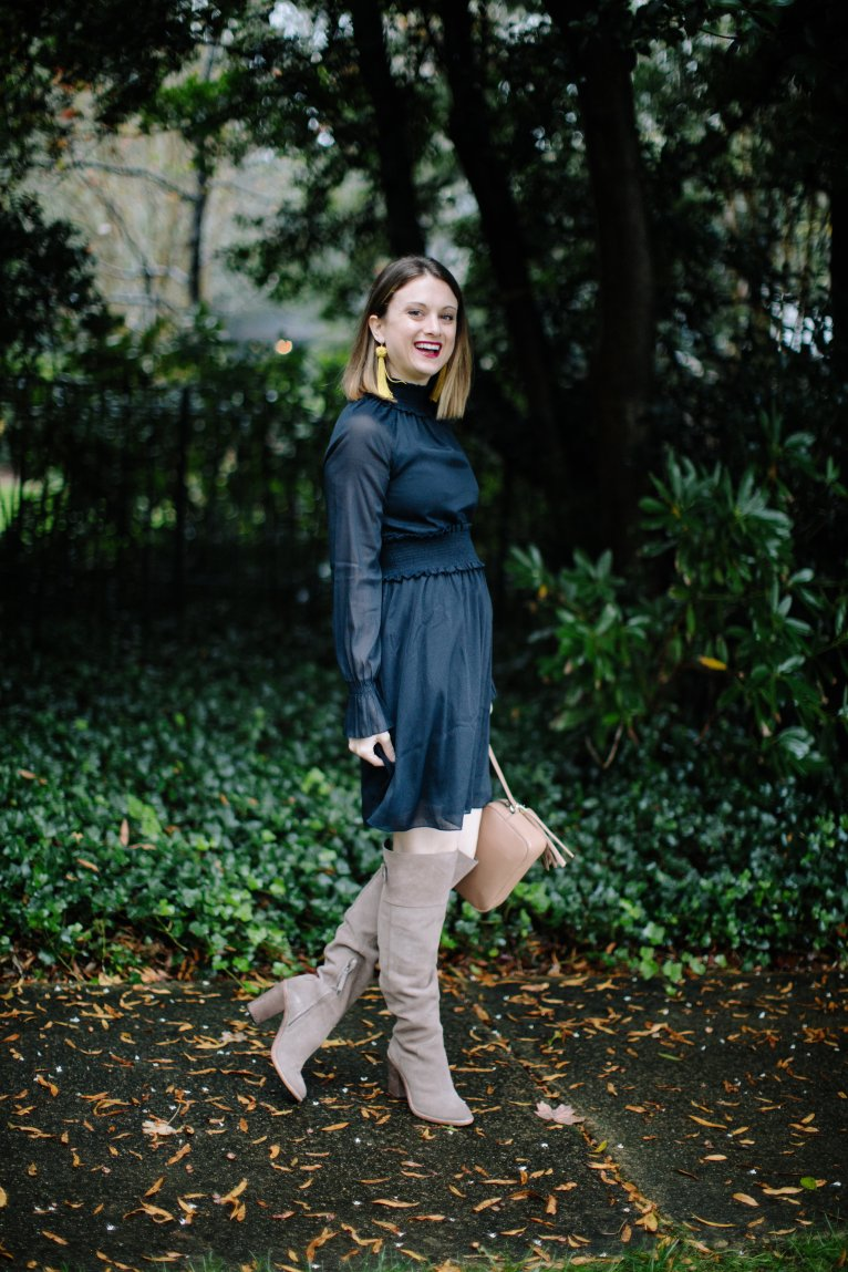 A classic navy dress to wear everywhere by fashion and lifestyle blogger Maggie Kern of Polished Closets.