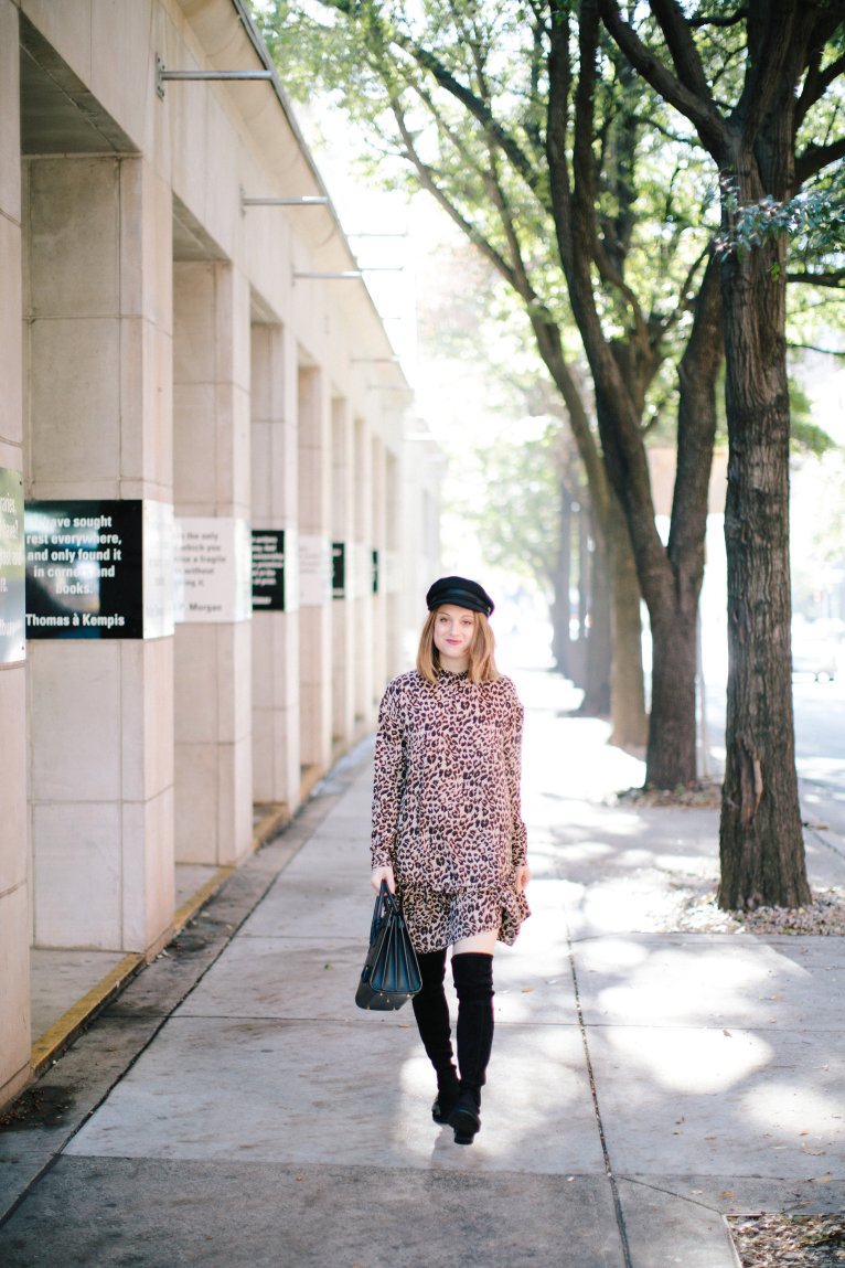 The perfect leopard dress for fall and winter by Fashion Blogger Maggie Kern of Polished Closets