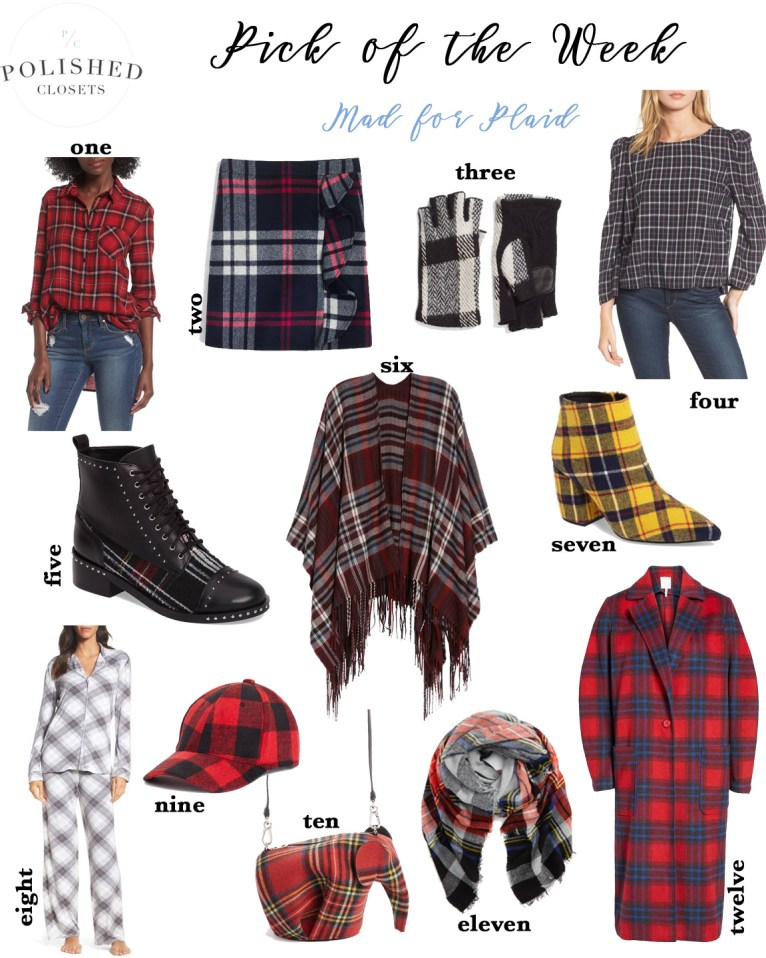 The cutest and chicest plaid clothing for the holidays by fashion and lifestyle blogger Maggie Kern of Polished Closets.