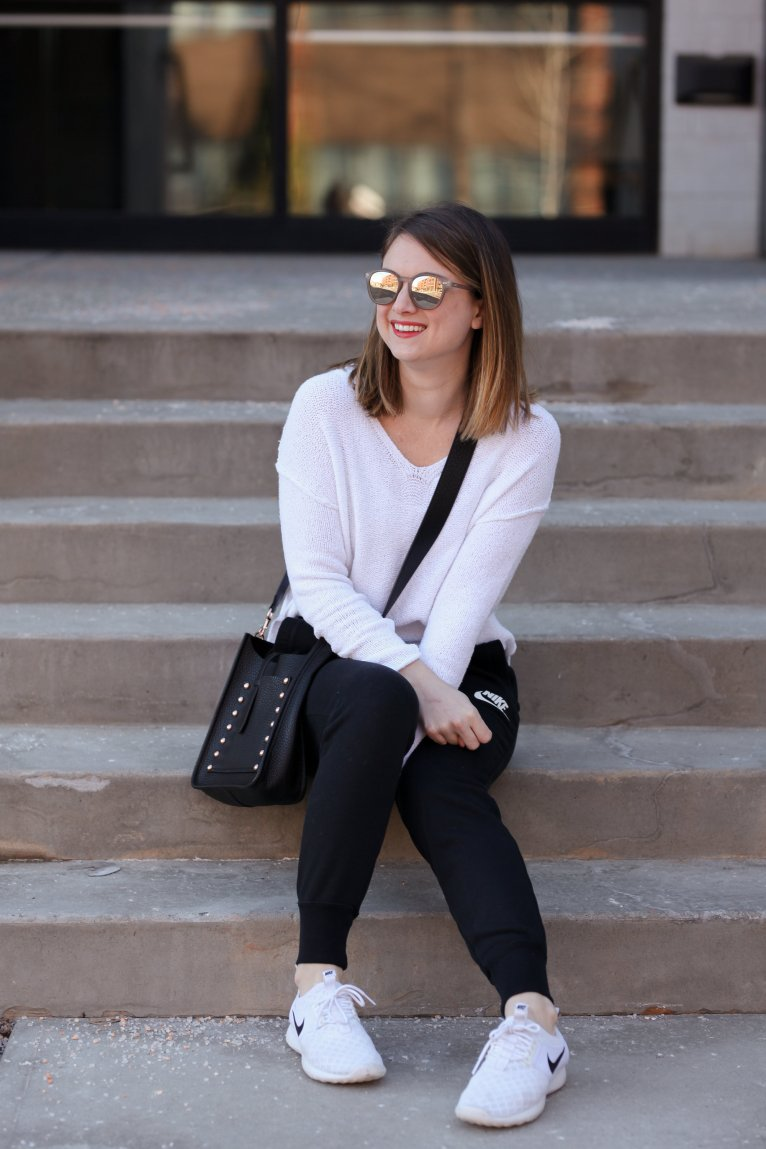 An easy outfit for the weekend - joggers and a sweater