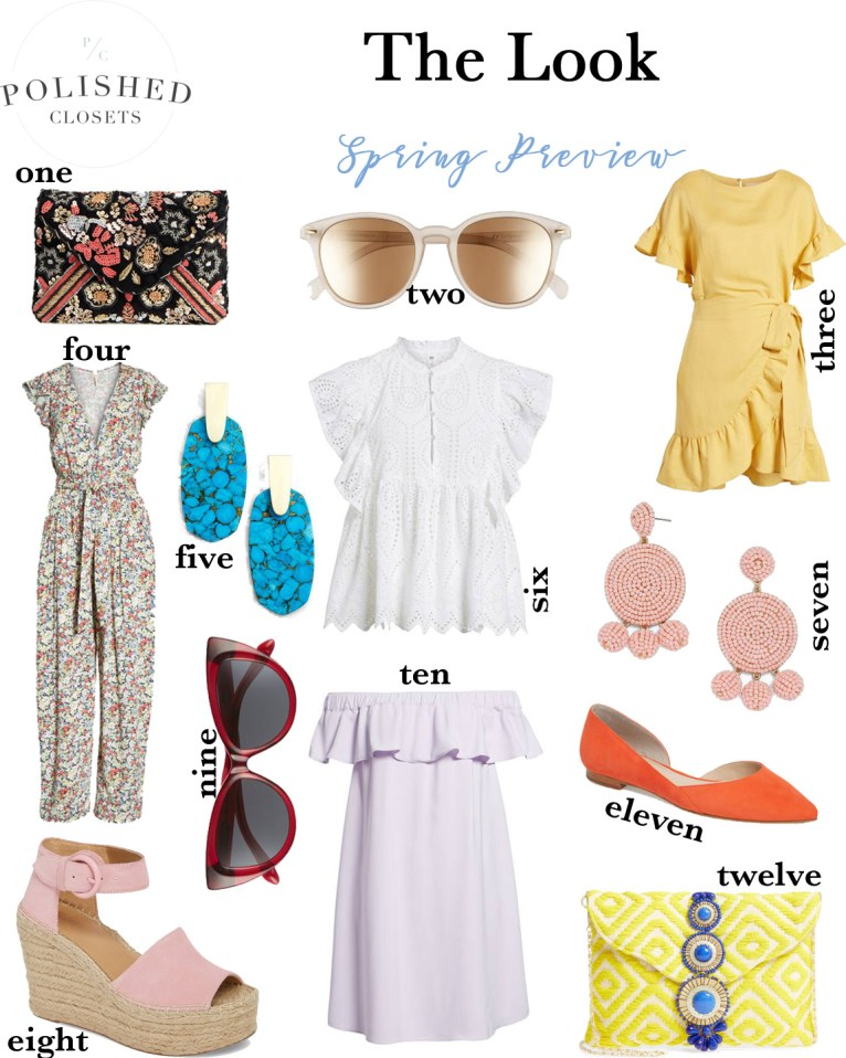 A spring clothing trend preview of pretty patterns, bright colors, and statement accessories.