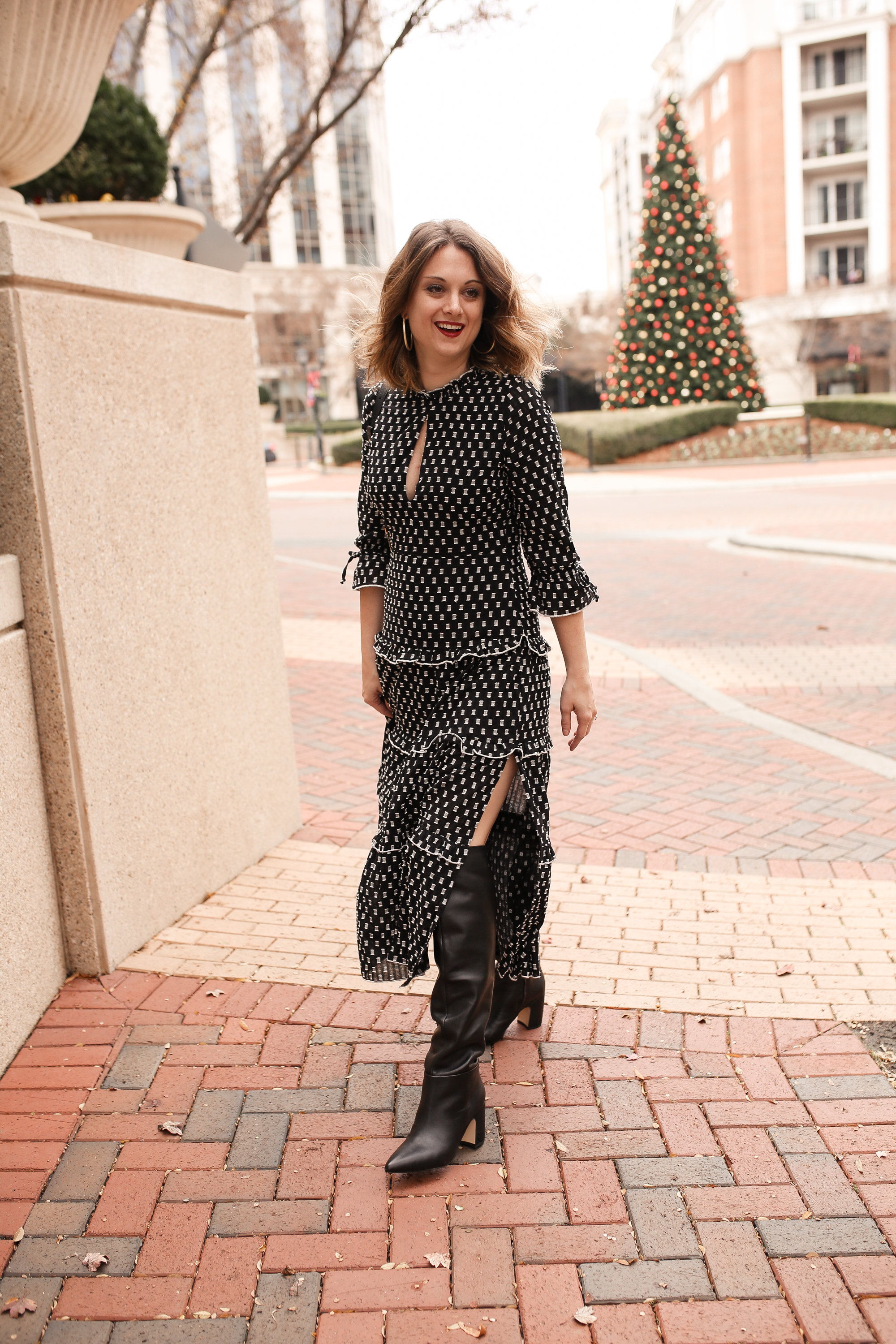 Style a Midi Dress with Knee High Boots