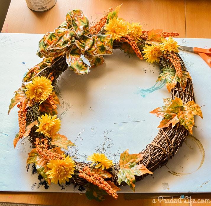 Estate Sale Wreath BEFORE