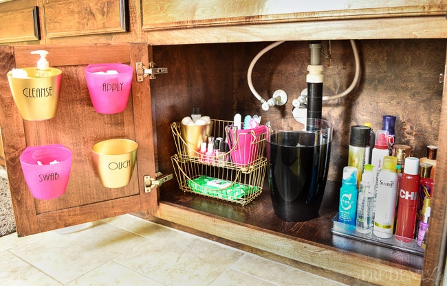 The right products make all the difference with under sink organization in the bathroom.