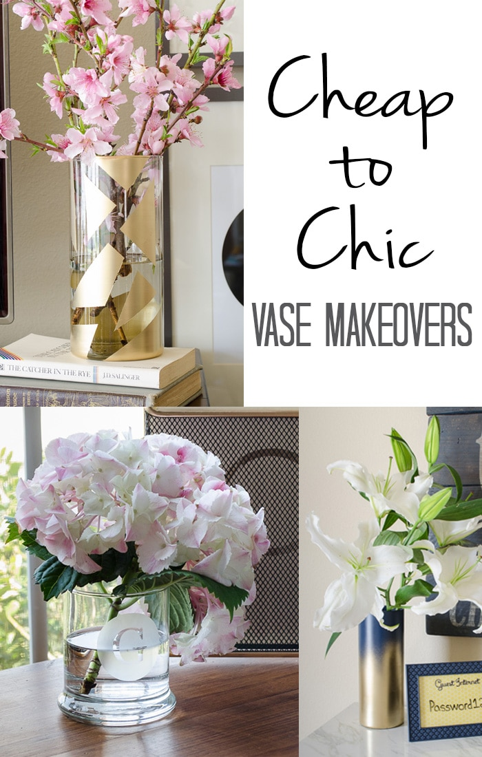 Dollar store vase  makeovers are an inexpensive way to add chic trends to your home. I love all three of these super simple tutorials.