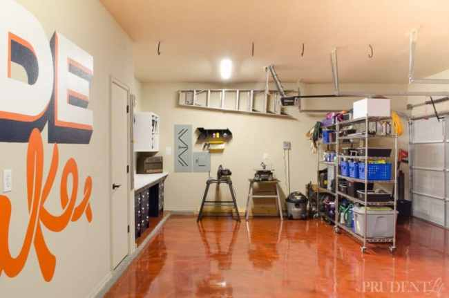 """Our garage used to be a cluttered mess, but after a makeover we have plenty of room to create. Dividing the space into a workshop and """"shed"""" was easy using $99 rolling shelving units."""