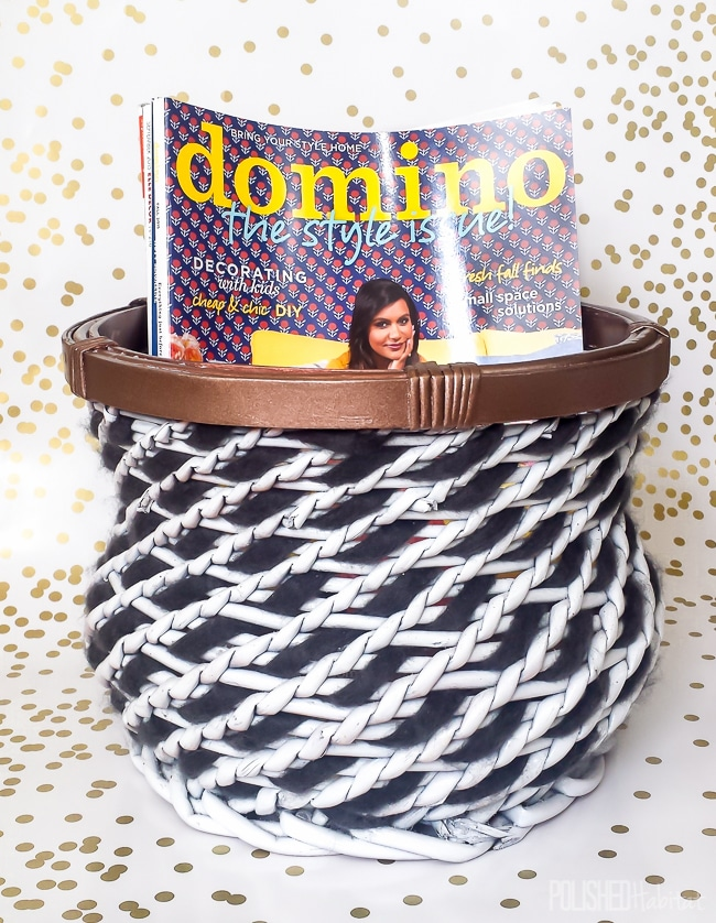 Thrift store basket transformed. Paint and chunky weight yarn give this old basket a fresh new look.