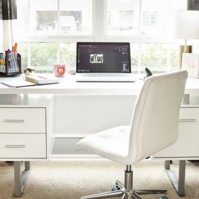 Feminine Home Office - White Desk & White Chair