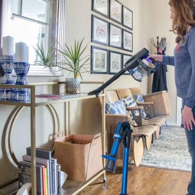 Using Shark IonFlex vacuum for dusting.