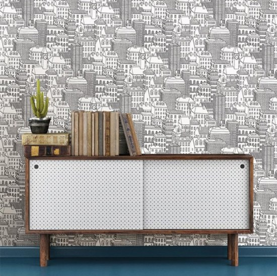 Peel and Stick Cityscape Wallpaper - Removable for Rentals!
