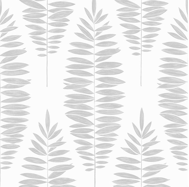 Silver / Gray Leaf Wallpaper