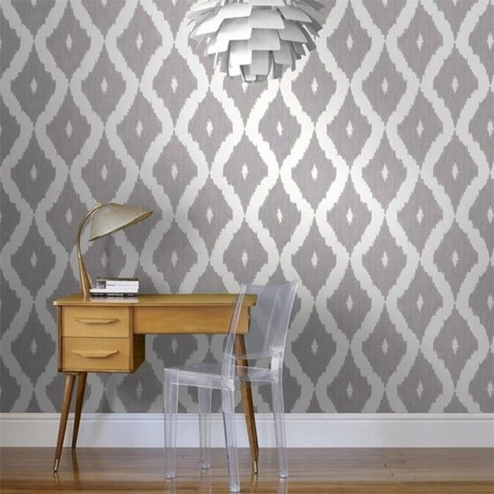Gray ikat removable wallpaper