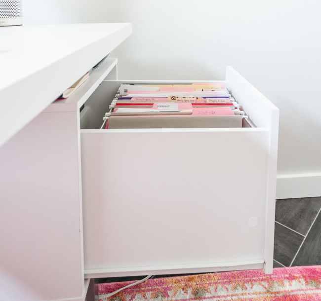 White Desk file drawer