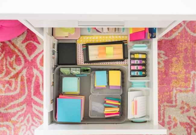Post it note organization in desk drawer