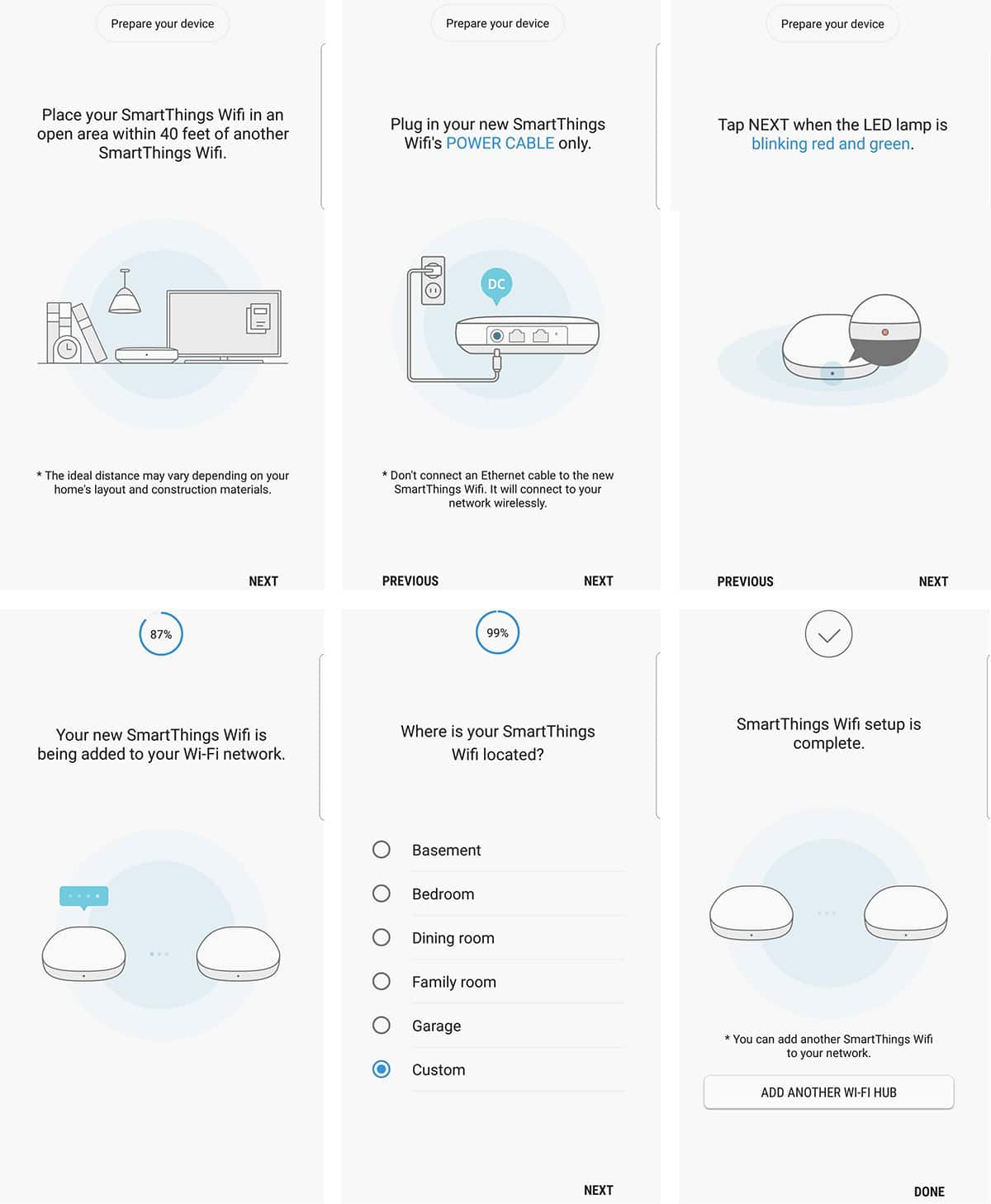 Simple setup instructions for the Samsung Smartthings Wifi System
