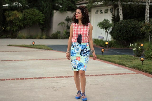 floral skirt print mix with gingham tank
