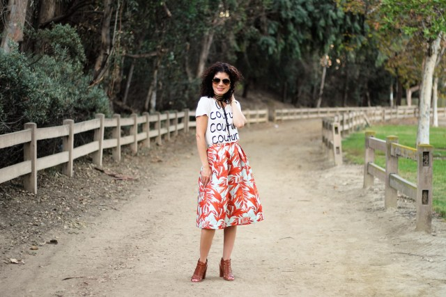 H&M tropical skirt with graphic tee