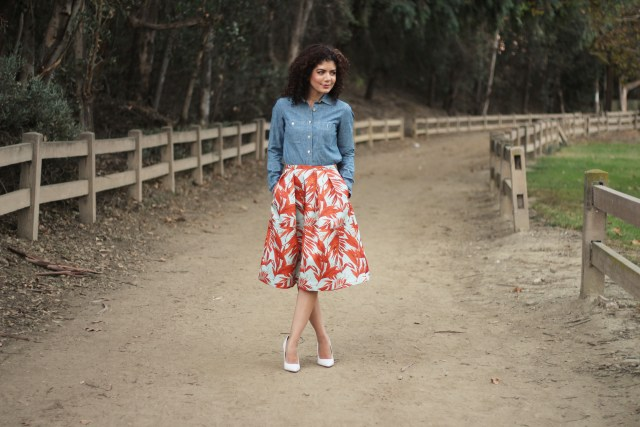 H&M tropical skirt with j crew chambray shirt