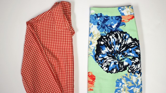 floral skirt print mix with gingham shirt
