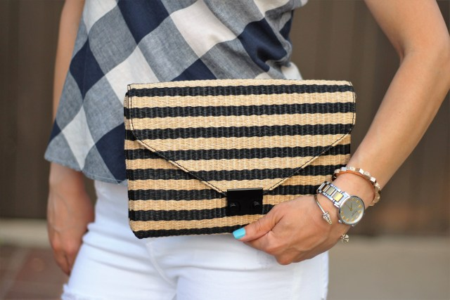 pattern mixing: striped bag with gingham top