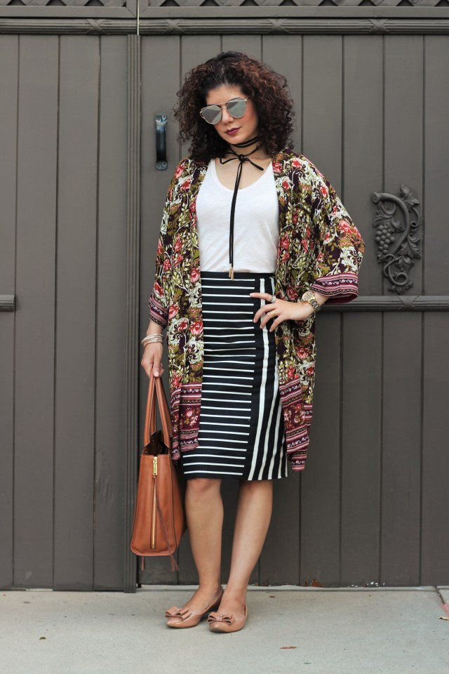 Fall kimono with Target Women's Floral Kimono Jacket Purple/Green - Merona™ and J Crew mixed strip pencil skirt and ilymix sunglasses