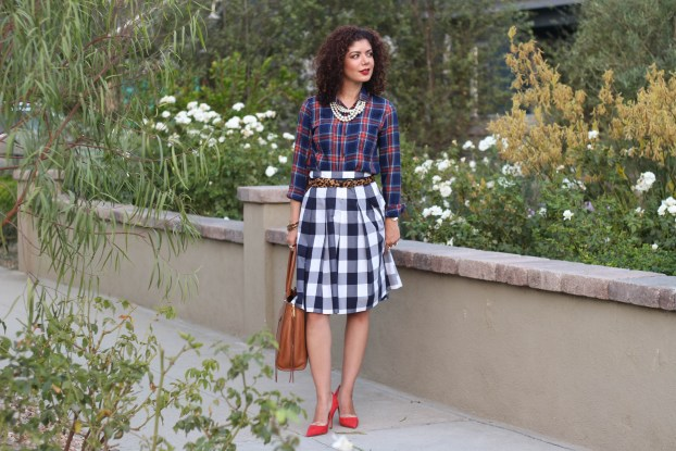 plaid old navy shirt with gingham skirt and red heels