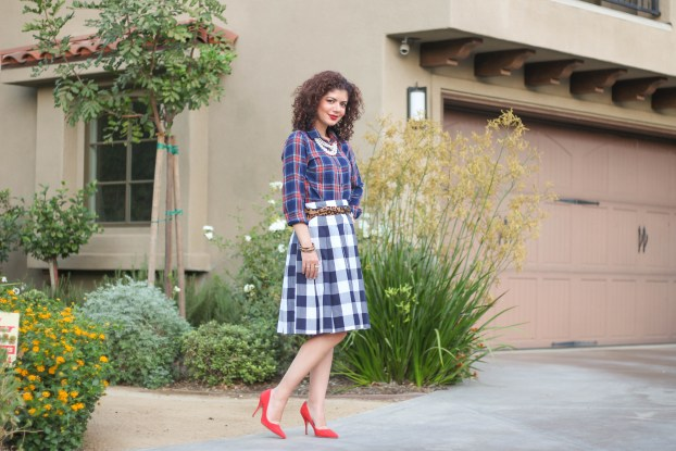 plaid on plaid with leopard and red pumps